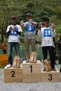 優勝 佐野宣彬さん(中央) 準優勝 糸原健次さん(左) 第3位 中山晋一さん(右)